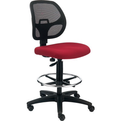 Interion® Armless Mesh Drafting Stool - Fabric - Red