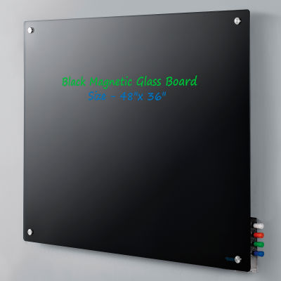 "Global Industrial™ Magnetic Glass Dry Erase Board - 48 x 36"" - Black"