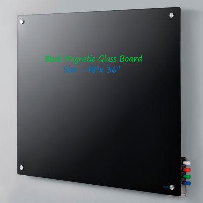 "Global Industrial™ Magnetic Glass Dry Erase Board - 48 x 36"" - Black"