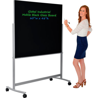 "Global Industrial™ Mobile Glass Board - 60""W x 48""H -Black"