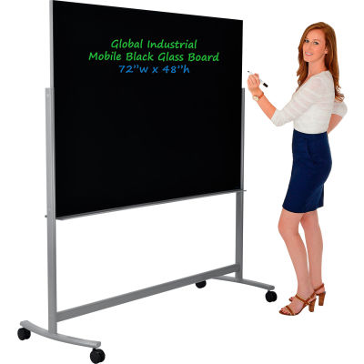 "Global Industrial™ Mobile Glass Board - 72""W x 48""H-Black"