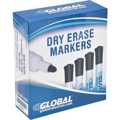 Global Industrial™ Dry Erase Markers, Bullet Tip - Black - Pack of 12