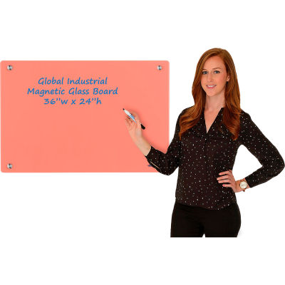 Global Industrial™ Magnetic Glass Dry Erase Board - 36 x 24 - Coral