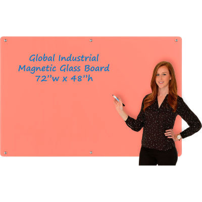 Global Industrial™ Magnetic Glass Dry Erase Board - 72 x 48 - Coral