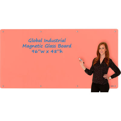 Global Industrial™ Magnetic Glass Dry Erase Board - 96 x 48 - Coral