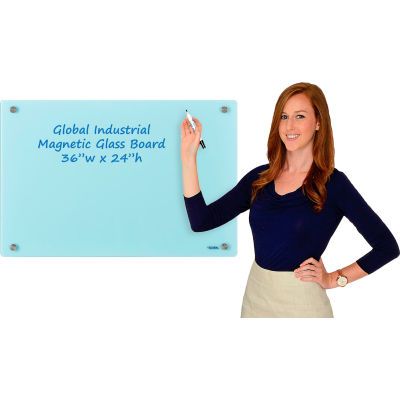 Global Industrial™ Magnetic Glass Dry Erase Board - 36 x 24 - Seafoam