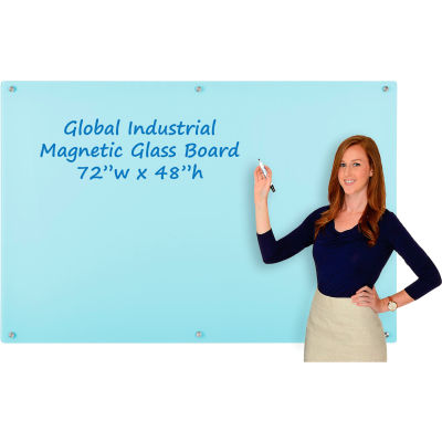 Global Industrial™ Magnetic Glass Dry Erase Board - 72 x 48 - Seafoam