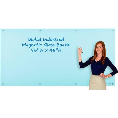 Global Industrial™ Magnetic Glass Dry Erase Board - 96 x 48 - Seafoam
