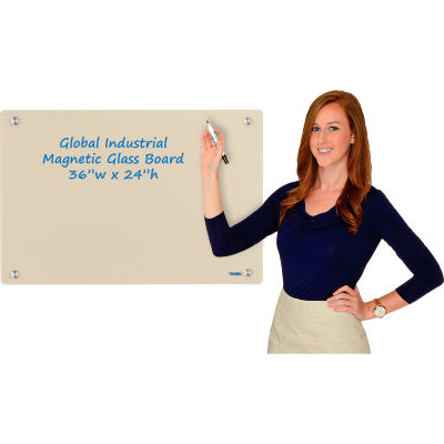 Global Industrial™ Magnetic Glass Dry Erase Board - 36 x 24 - Tan