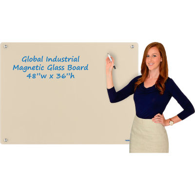 Global Industrial™ Magnetic Glass Dry Erase Board - 48 x 36 - Tan