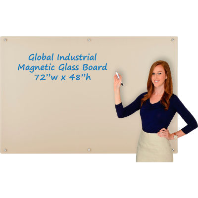 Global Industrial™ Magnetic Glass Dry Erase Board - 72 x 48 - Tan