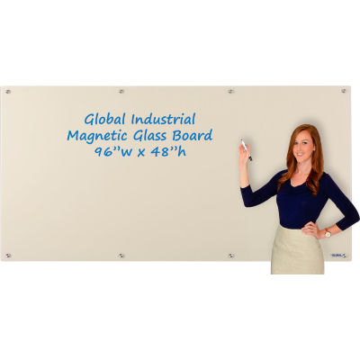 Global Industrial™ Magnetic Glass Dry Erase Board - 96 x 48 - Tan