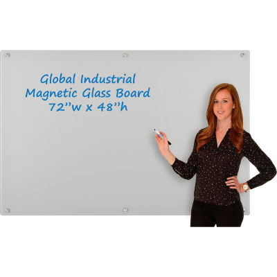 Global Industrial™ Magnetic Glass Dry Erase Board - 72 x 48 - Gray