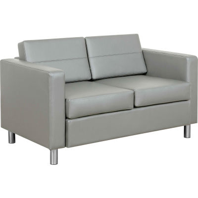 Interion® Antimicrobial Upholstered Leather Loveseat, Gray