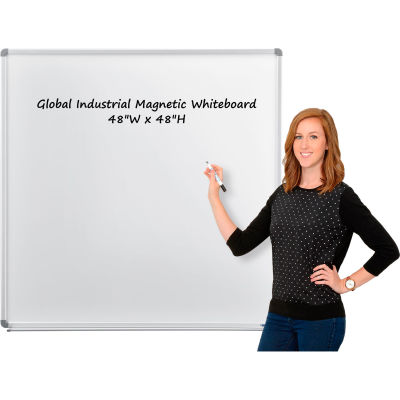 "Global Industrial™ Magnetic Whiteboard - 48""W x 48""H - Steel Surface - Aluminum Frame"