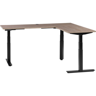 """Interion® L-Shaped Electric Height Adjustable Desk, 60""""W x 24""""D, Gray W/ Black Base"""