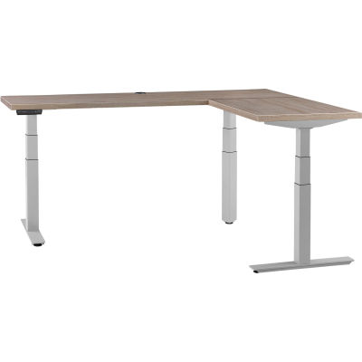 """Interion® L-Shaped Electric Height Adjustable Desk, 60""""W x 24""""D, Gray W/ Gray Base"""