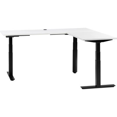 """Interion® L-Shaped Electric Height Adjustable Desk, 72""""W x 24""""D, White W/ Black Base"""