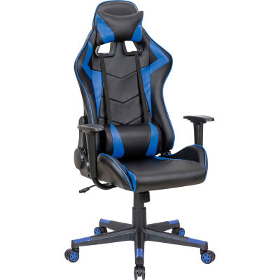 Interion® Antimicrobial High Back Gaming Chair, Black/Cobalt Blue