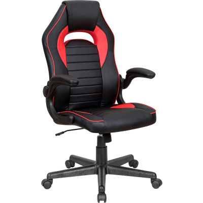 Interion® Antimicrobial Racing Chair, Black/Red