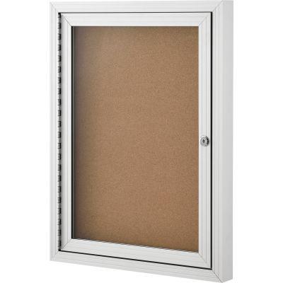 "Global Industrial™ Enclosed Cork Bulletin Board, 1 Door, 24""W x 18""H"