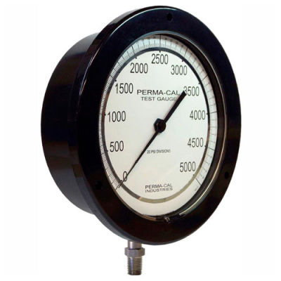 """Perma-Cal 100FTM17A21, 6"""" Dial, 0-10,000 psi, 1/4"""" NPT,Bottom Mount,SS Connection,BLK Front Flange"""