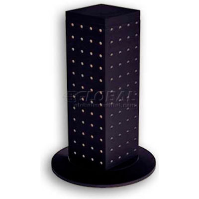 "Azar Displays 700220-BLK 12"" Pegboard Revolving Countertop Display, 4-Sided, Black ,1 Piece"