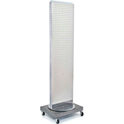 """Azar Displays 700253-WHT, Pegboard Floor Stand, 16""""W x 66""""H, WH, 1 Pc"""