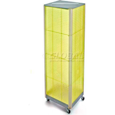"Azar Displays 700406-YEL Four-Sided Spinning Pegboard Floor Display W/ Wheels, 16"" x 60"", Yellow"