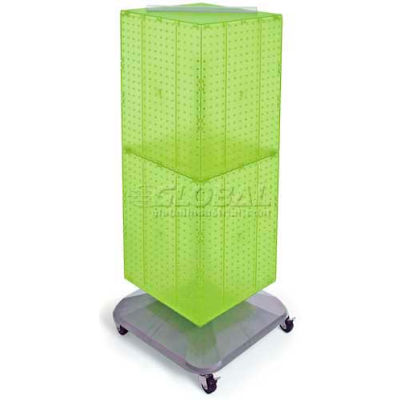 "Azar Displays 701436-GRE 4-Sided Interlocking Pegboard Floor Display, 14"" x 40"", Green Opaque"