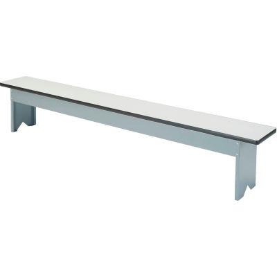 Global Industrial™ Locker Bench Plastic Laminate Top w/Steel Pedestals, Free Standing, 96x12x18