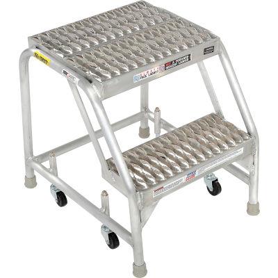 """2 Step Aluminum Rolling Ladder, 16""""W Grip Step, W/O Handrails - WLAR002165"""