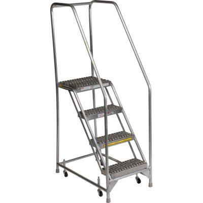 "4 Step Aluminum Rolling Ladder, 24""W Grip Step, 30"" Handrails - WLAR104245"