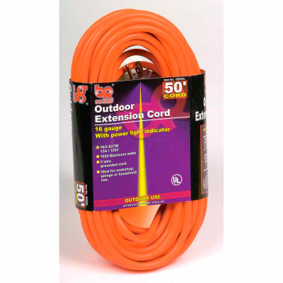 U.S. Wire 60050 50 Ft. Three Conductor Orange Extension Cord, 16/3 Ga. SJTW-A, 300V, 13A