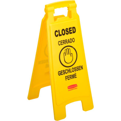 Rubbermaid® 6112-78 Floor Sign 2 Sided Multi-Lingual - Closed