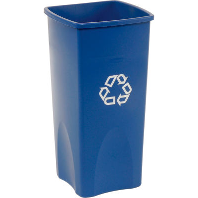 23 Gallon Square Rubbermaid Recycling Container - Blue