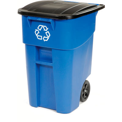 Rubbermaid® 9W27-73 Brute Recycling Rollout Container 50 Gallon, Blue with Lid