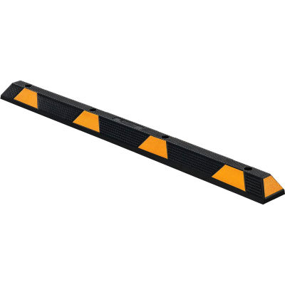 """72"""" Rubber Parking Stop/Curb Block, Black With Yellow Stripes"""