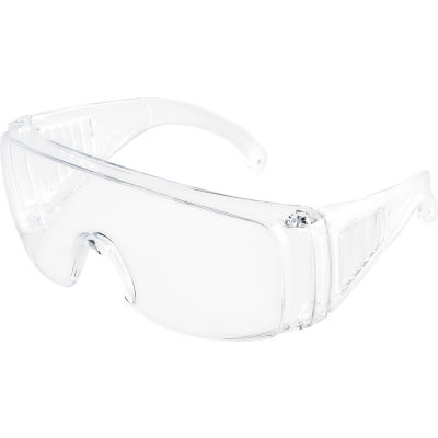 Global Industrial OTG Visitor Safety Glasses, Clear Frame, 1 Each - Pkg Qty 12