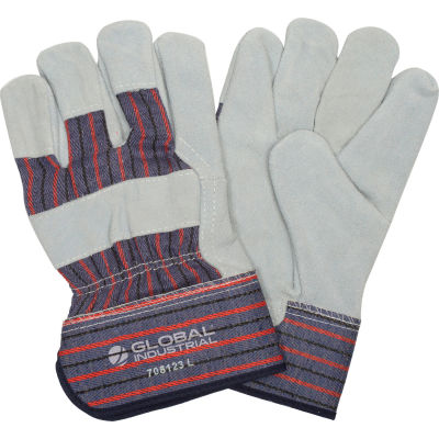 """Global™ Leather Palm Safety Gloves with 2-1/2"""" Safety Cuff, Large, 1 Pair - Pkg Qty 12"""