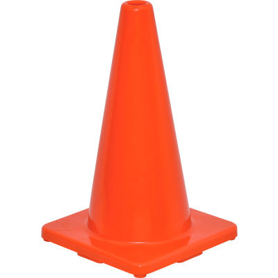 "Global Industrial™ 18"" Traffic Cone, Non-Reflective, Solid Orange Base, 2-1/2 lbs"