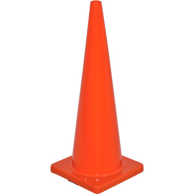 "Global Industrial™ 36"" Traffic Cone, Non-Reflective, Solid Orange Base, 10 lbs"