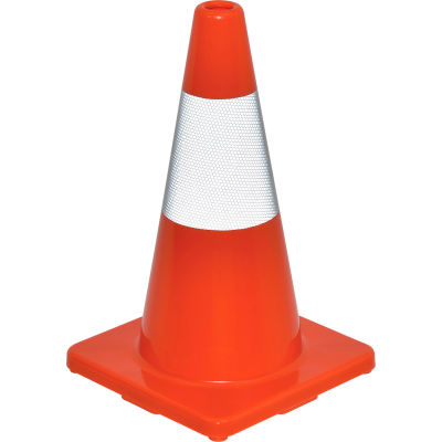 """Global Industrial™ 18"""" Traffic Cone, Reflective, Solid Orange Base, 2-1/2 lbs"""