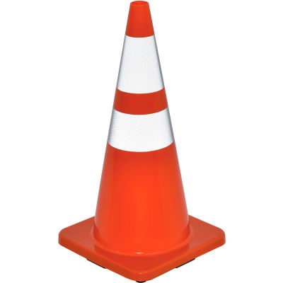 """Global Industrial™ 28"""" Traffic Cone, Reflective, Solid Orange Base, 7 lbs"""