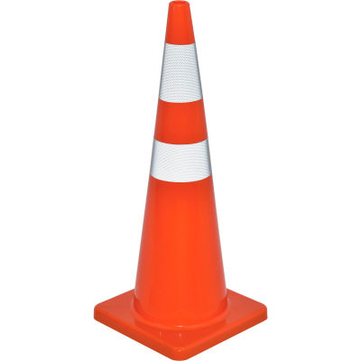 """Global Industrial™ 36"""" Traffic Cone, Reflective, Solid Orange Base, 10 lbs"""