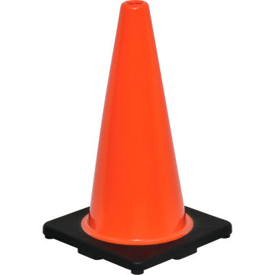 """Global Industrial™ 18"""" Traffic Cone, Non-Reflective, Black Base, 3 lbs"""