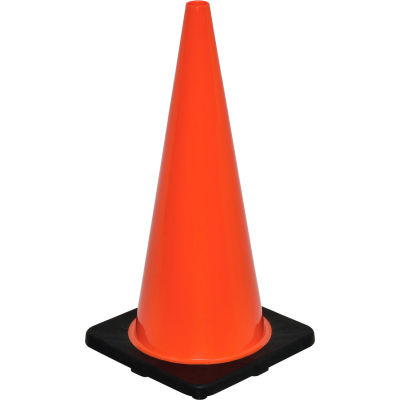 """Global Industrial™ 28"""" Traffic Cone, Non-Reflective, Black Base, 7 lbs"""