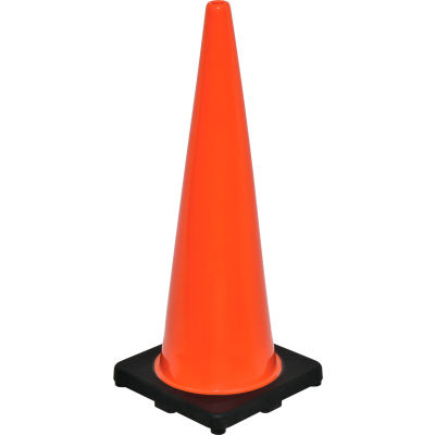 """Global Industrial™ 36"""" Traffic Cone, Non-Reflective, Black Base, 10 lbs"""