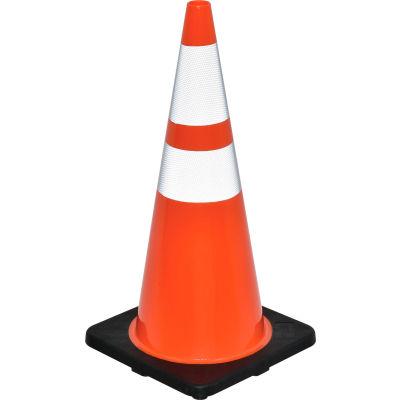 "28"" Traffic Cone, Reflective, Black Base, 7 lbs"