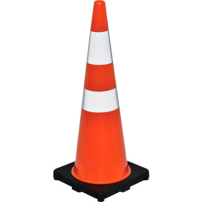 "Global Industrial™ 36"" Traffic Cone, Reflective, Black Base, 10 lbs"